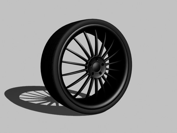 matte black racing rim tire 3d max