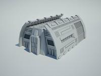 3d model futuristic sci fi building