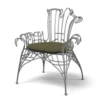 Baker  Organic Baroque chair 1648 Tony Diquette Collection accent iron forged carved wicker metal chair designer