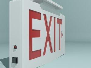 white exit sign 3d max