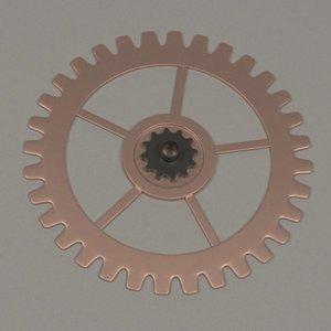3d 3ds clock gear wheel