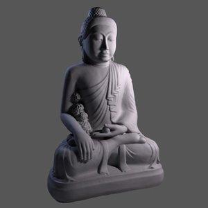 realistic scan guatama buddha statue obj