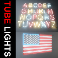 3dsmax letters neon lights tube