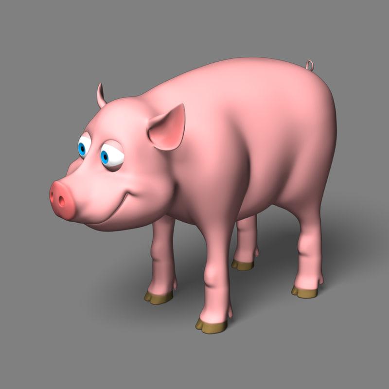 3d model of pig cartoon