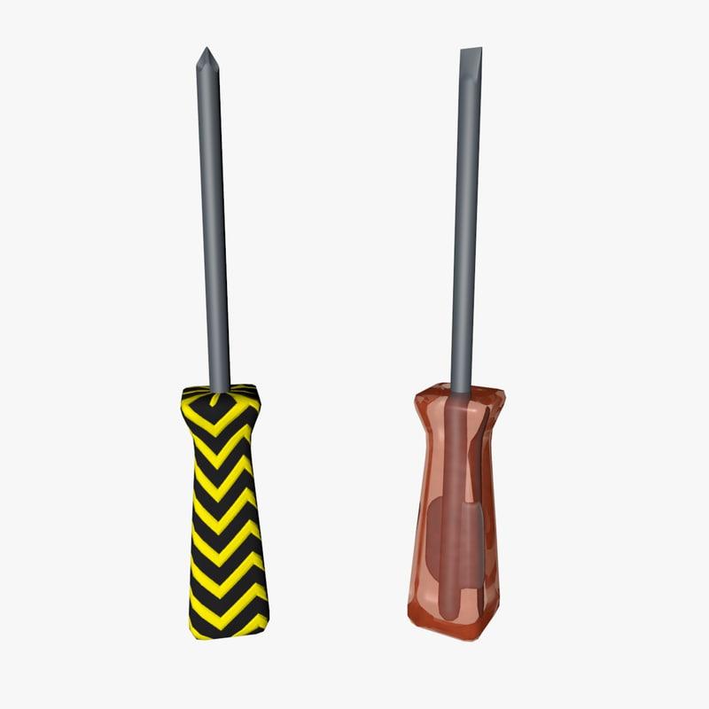 screwdrivers 3d model