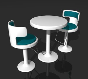 3d model of retro cafe bar table