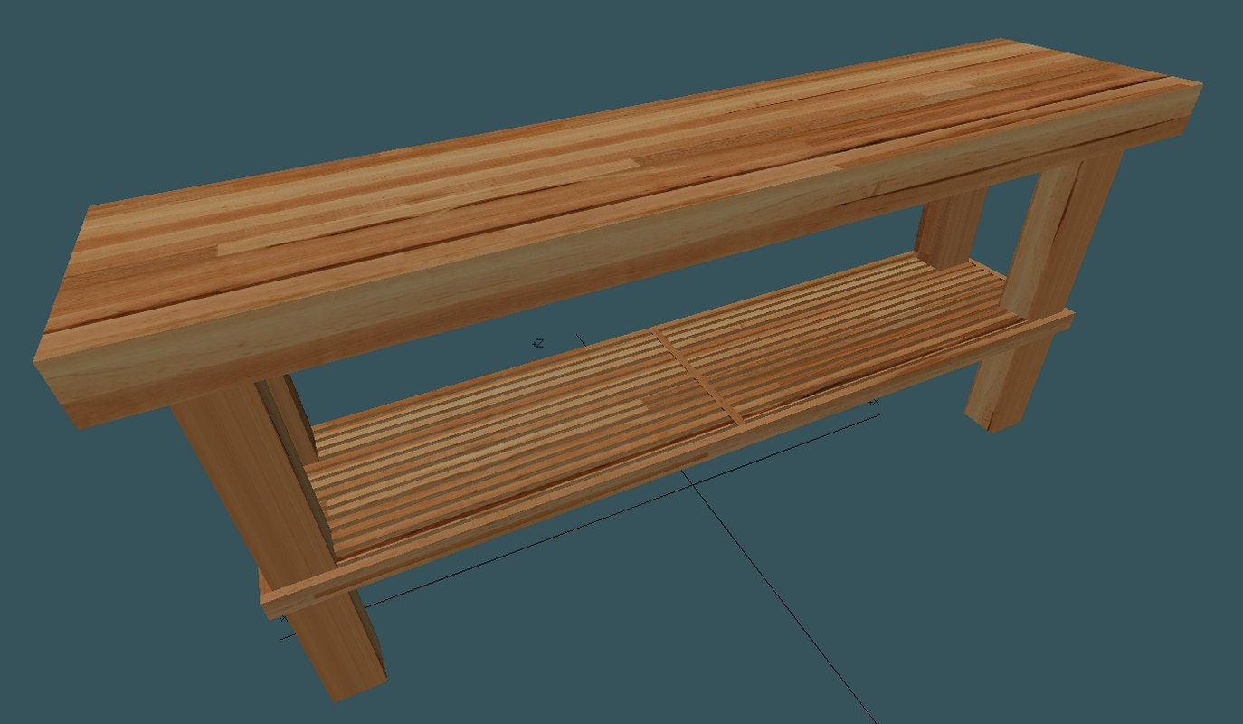 3d butcher block table model
