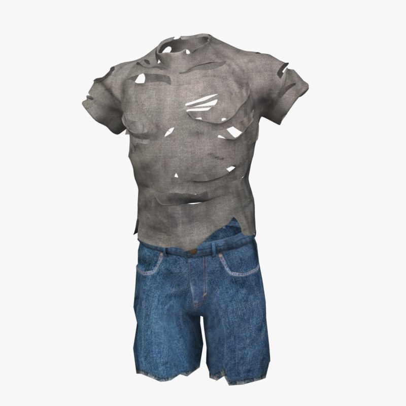 ripped shirt shorts 3d max