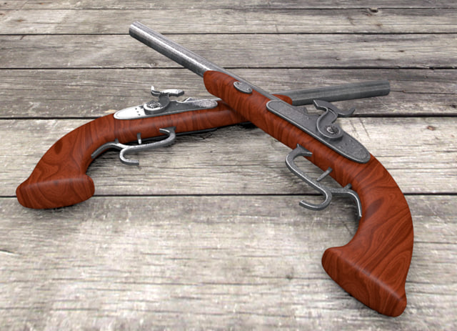 3d c4d old gun