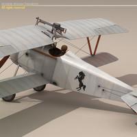3d model nieuport 17 baracca biplane