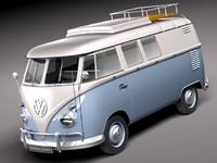 3d model of bus van antique volkswagen