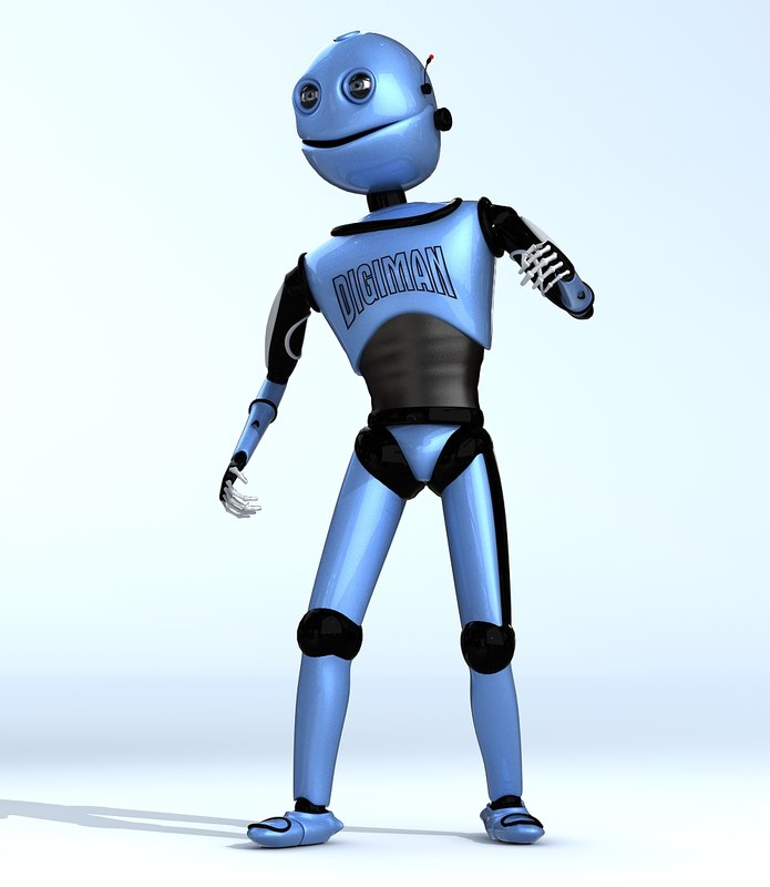 robot cartoon character 3d model