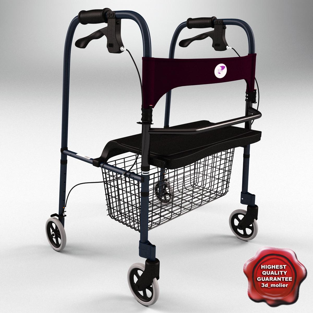 3ds folding 4 wheel walker