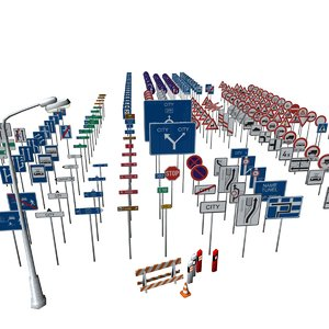 3d model european traffic signs barrier