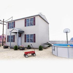 usa town house 004 3d model