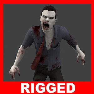 realistic zombie rigged 3ds