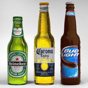 3d obj corona beer heineken