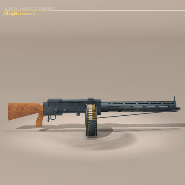 3d model parabellum lmg14 machine gun