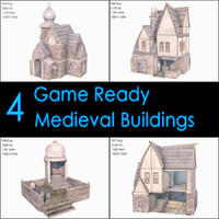 Medieval Buildings Collection, Low Poly, Textured
