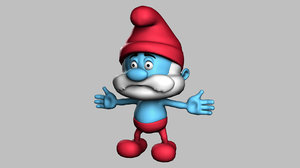 3d cartoon character papa smurf