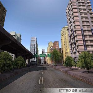 realtime city track loop 3d obj
