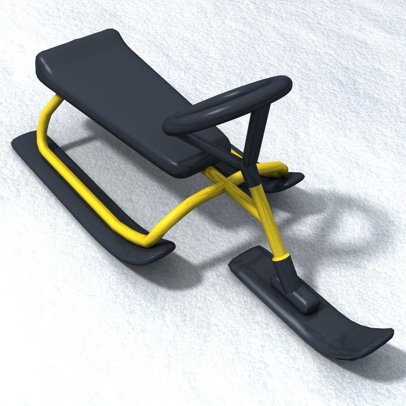 3d model of snow sledge