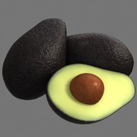 3d avocado fruit pit model