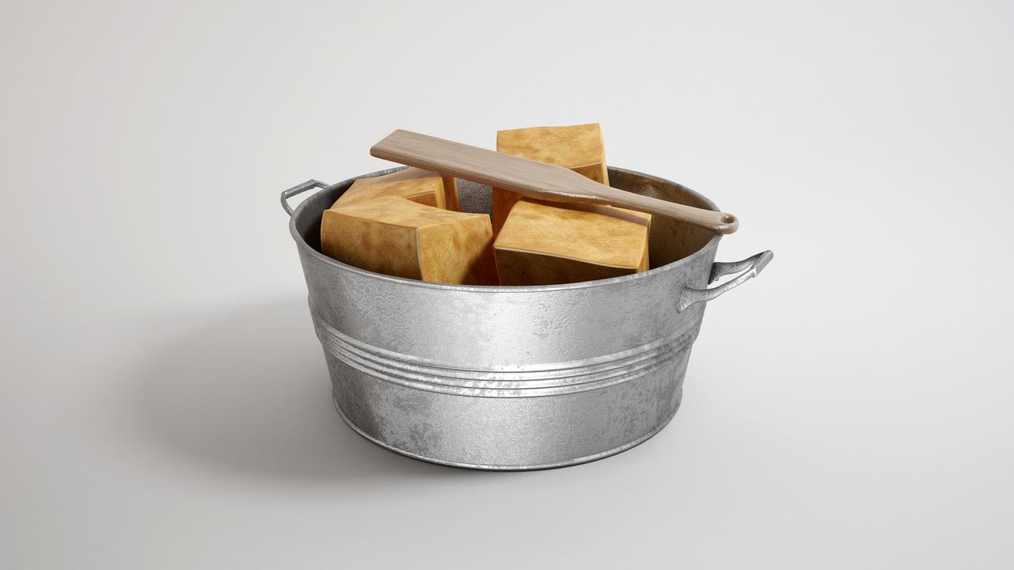 3d model metal bucket handmade soap