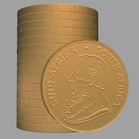 krugerrand gold coin 3d obj