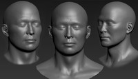 scanning human face asian male 3d model