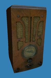 antique rectangular radio 3d 3ds