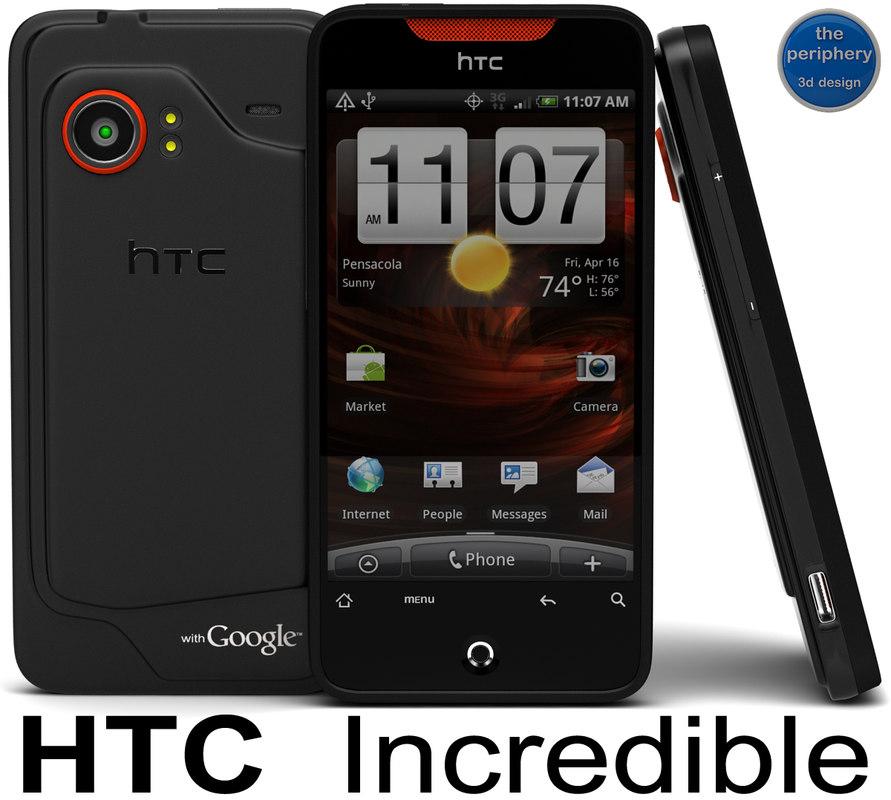 htc incredible smartphone 3d model