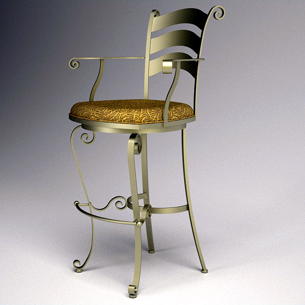 3d model metal bar stool chair