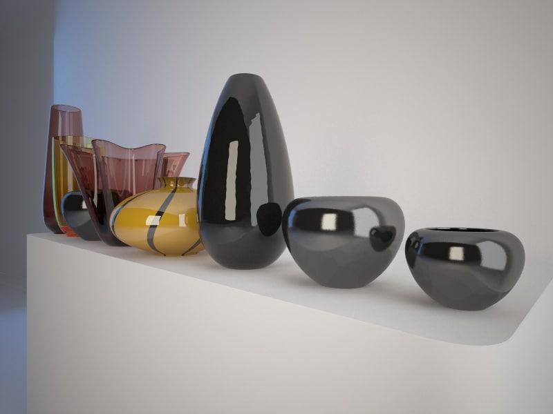 3d model vases interior decoration
