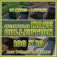 100x10 Low Polygon Rectangular Maze Collection