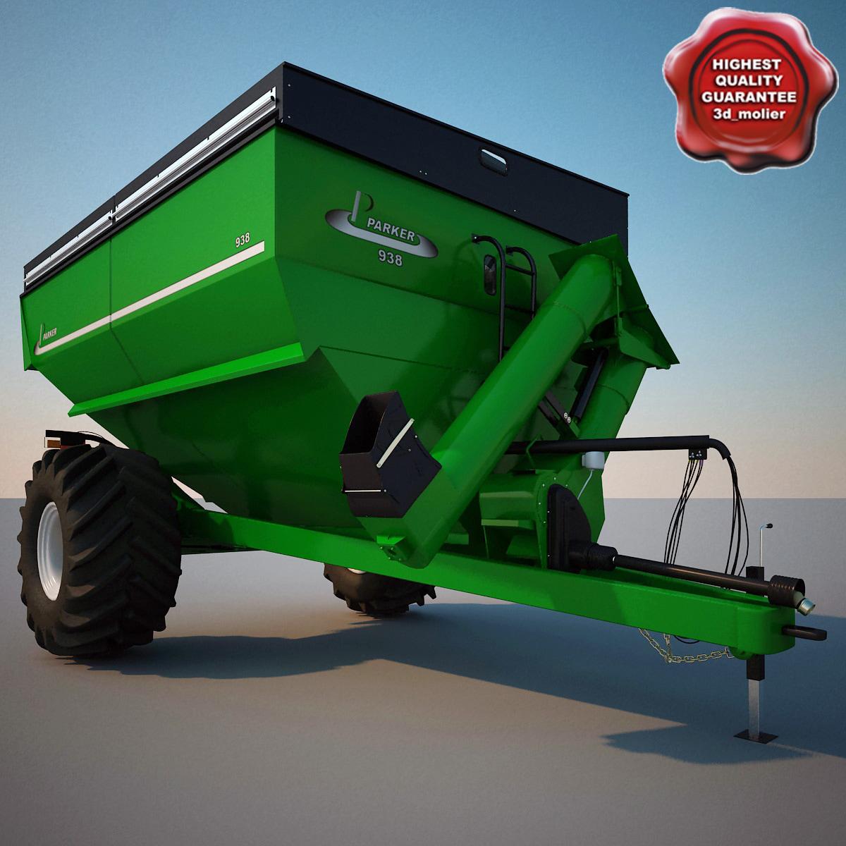 farm grain cart parker 3d model