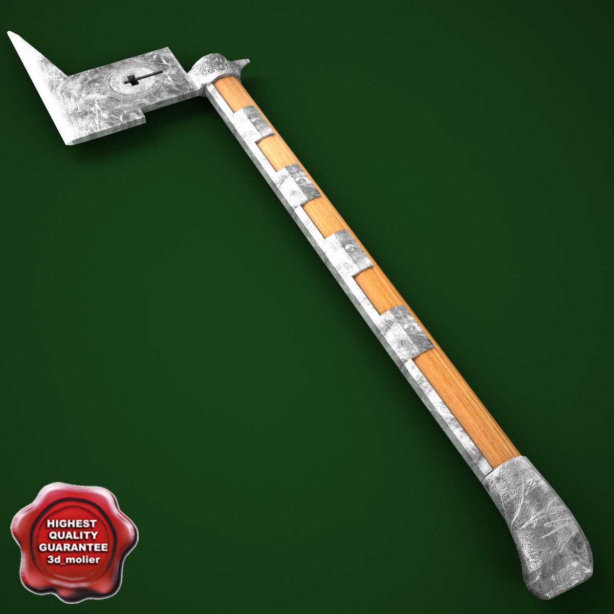 3d 3ds medieval axe v8