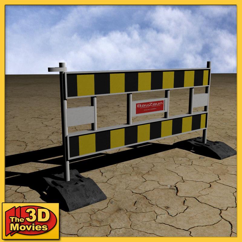 yellow-black construction barrier 3d model
