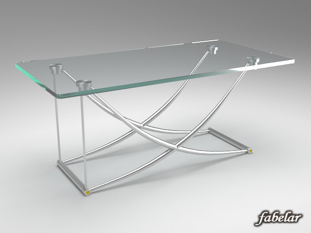 wood glass table 3d model