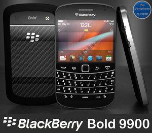 blackberry bold 9900 smartphone 3d model