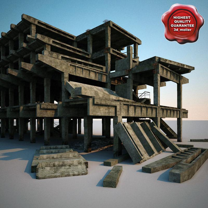 3d destroyed house v8