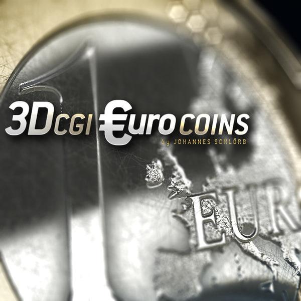 euro coins 3d model