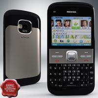 nokia e5 00 black 3d model