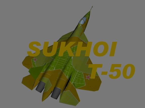 3d sukhoi t-50 stealth fighter