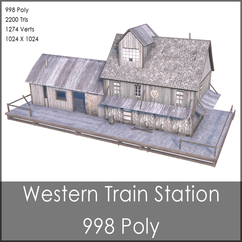 3ds max western train station