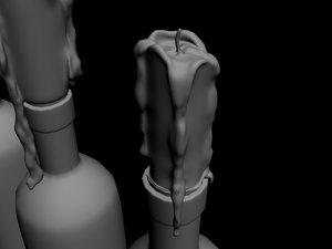 3d candles melting bottle model