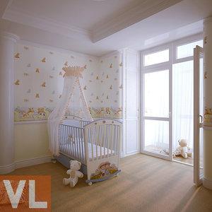 3d nursery interior classic model