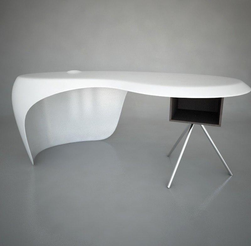 uno desk polyurethane wood 3d model