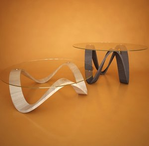 3d model sumo glass table wooden