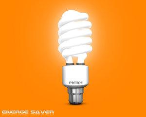 3d model of energy saver light bulbs